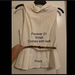 Forever 21 white peplum w/ belt